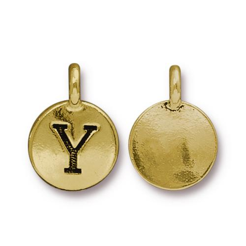 TierraCast Pewter Gold Plated Alphabet Charm, Letter Y