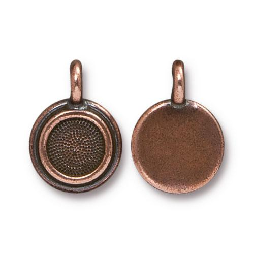 Tierracast Stepped Bezel Charms Glue-In for SS34 - 12mm, Antique Copper Plated