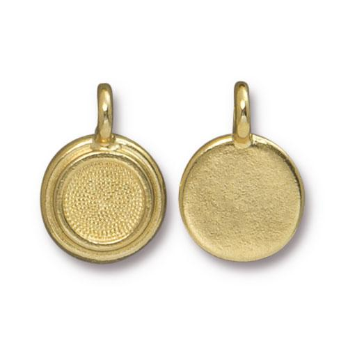 Tierracast Stepped Bezel Charms Glue-In for SS34 - 12mm, Gold Plated
