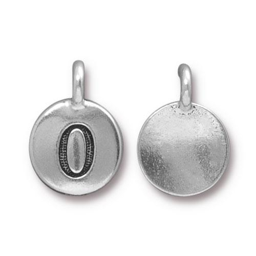 TierraCast Pewter Silver Plated Number Charm, 0