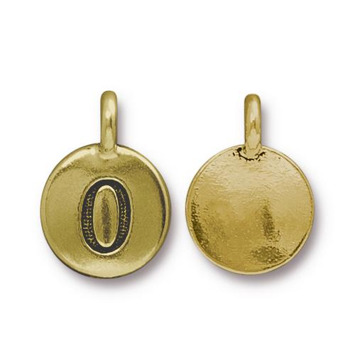 TierraCast Pewter Gold Plated Number Charm, 0