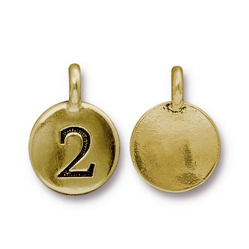 TierraCast Pewter Gold Plated Number Charm, 2