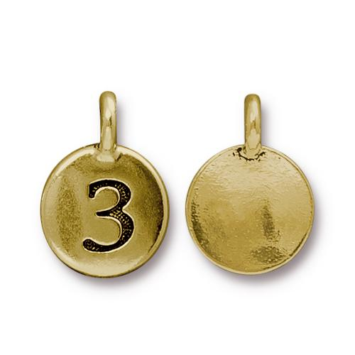 TierraCast Pewter Gold Plated Number Charm, 3