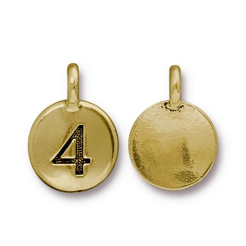 TierraCast Pewter Gold Plated Number Charm, 4