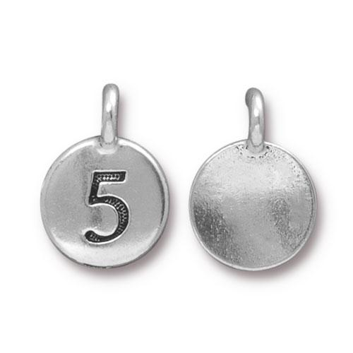 TierraCast Pewter Silver Plated Number Charm, 5