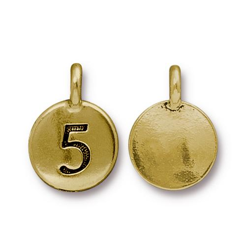 TierraCast Pewter Gold Plated Number Charm, 5