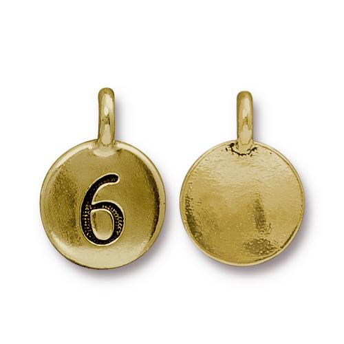TierraCast Pewter Gold Plated Number Charm, 6