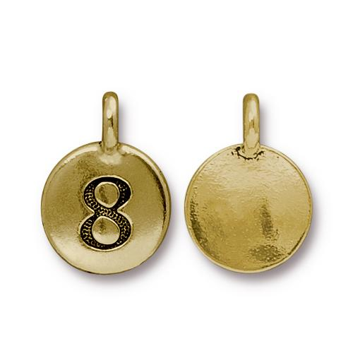 TierraCast Pewter Gold Plated Number Charm, 8