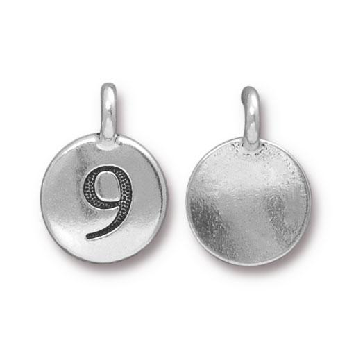 TierraCast Pewter Silver Plated Number Charm, 9