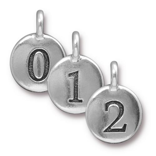 TierraCast Pewter Silver Plated Charm, Full Set of Numbers (10pc)