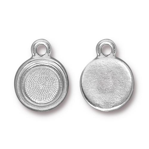 Tierracast Stepped Bezel Drops Glue-In for SS34 - 12mm, Bright Rhodium Plated