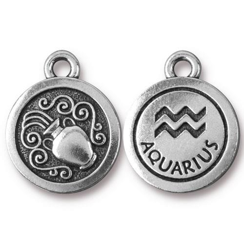 TierraCast Pewter Silver Plated Zodiac Charm, Aquarius