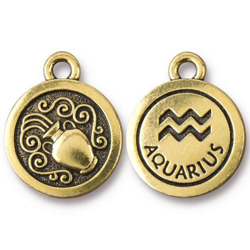 TierraCast Pewter Gold Plated Zodiac Charm, Aquarius
