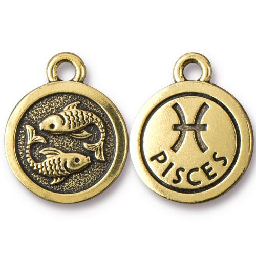 TierraCast Pewter Gold Plated Zodiac Charm, Pisces