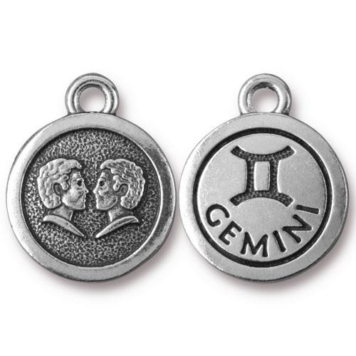 TierraCast Pewter Silver Plated Zodiac Charm, Gemini