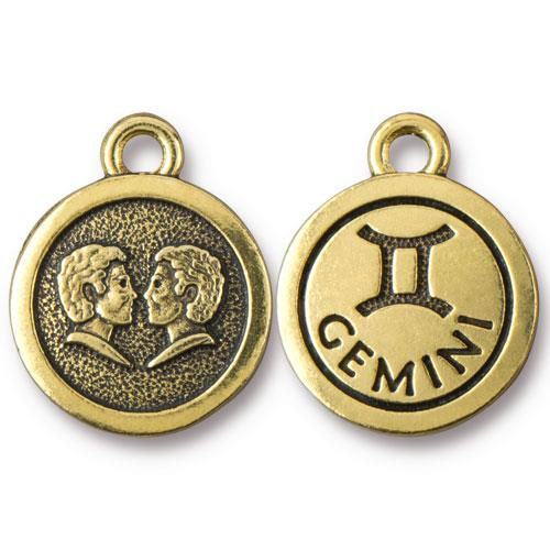 TierraCast Pewter Gold Plated Zodiac Charm, Gemini