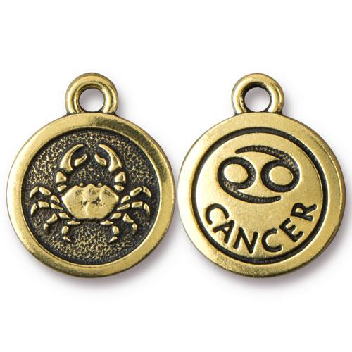 TierraCast Pewter Gold Plated Zodiac Charm, Cancer