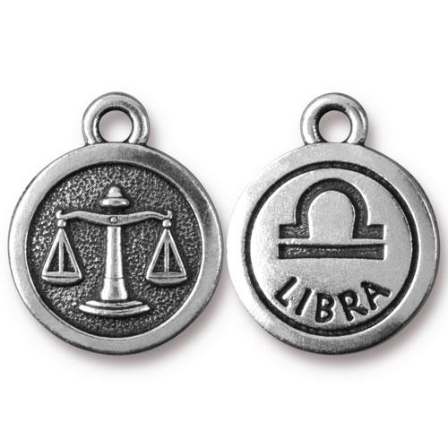 TierraCast Pewter Silver Plated Zodiac Charm, Libra