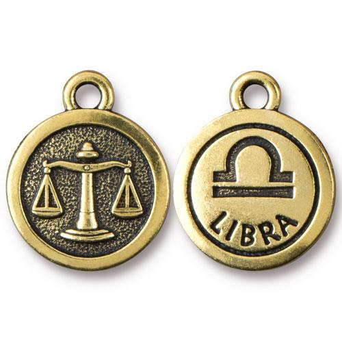 TierraCast Pewter Gold Plated Zodiac Charm, Libra