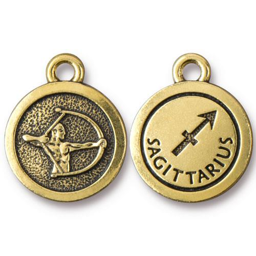 TierraCast Pewter Gold Plated Zodiac Charm, Sagittarius