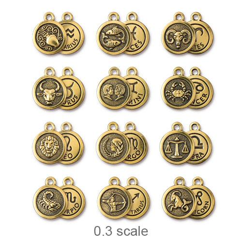 TierraCast Pewter Gold Plated Zodiac Charm, Full Set