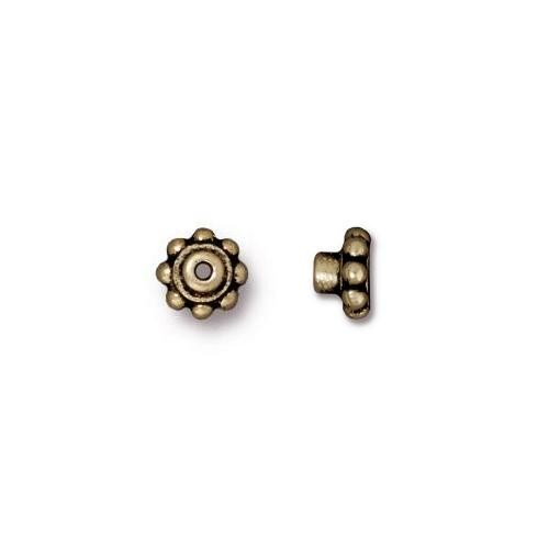 TierraCast BeadAligners™ 5.5mm Beaded Brass Oxide Bead Aligner x1