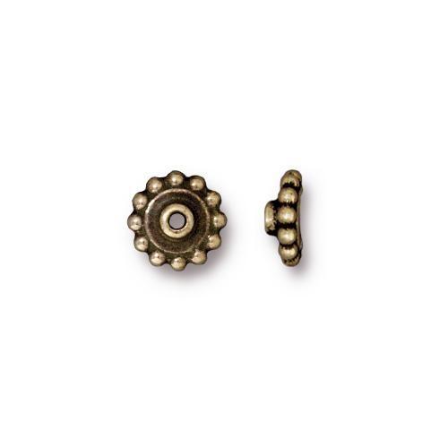 TierraCast BeadAligners™ 8mm Beaded Brass Oxide Bead Aligner x1