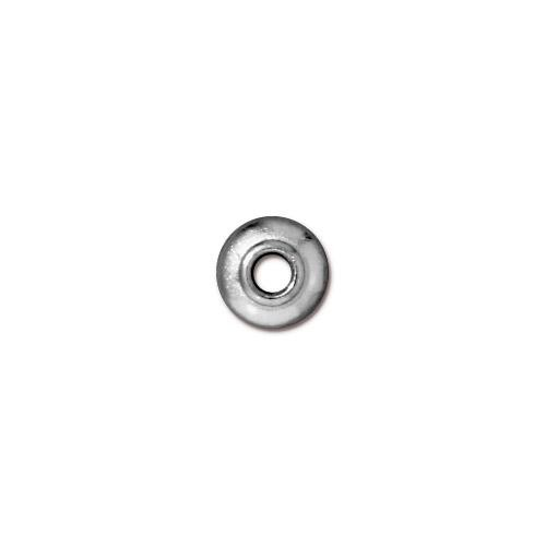 TierraCast Pewter Bright Rhodium Plated 7mm Classic Bead Cap, Large Hole x1