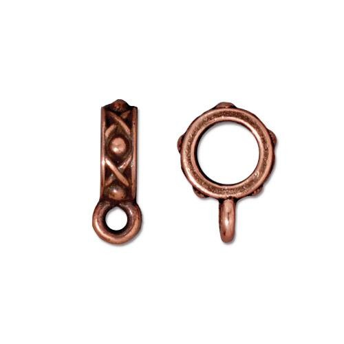 TierraCast Legend Slider Bail (6mm Hole Bead) Antiqued Copper Plated x1