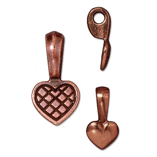 TierraCast Pewter Glue-on Pad Heart Bail Antique Copper Plated x1