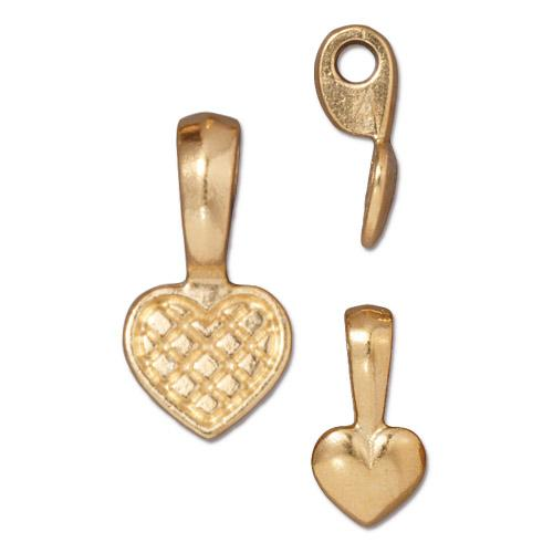 TierraCast Pewter Glue-on Pad Heart Bail 22kt Gold Plated x1