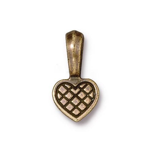 TierraCast Pewter Glue-on Pad Heart Bail Brass Oxide x1