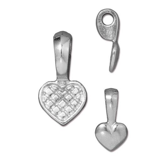 TierraCast Pewter Glue-on Pad Heart Bail Bright Rhodium Plated x1