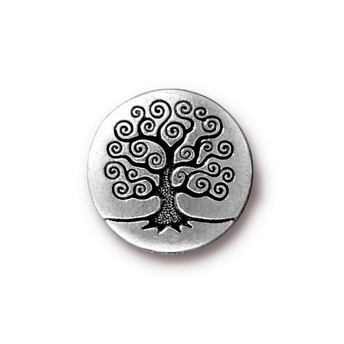 TierraCast Tree of Life Button, 15.5mm Antique Silver Plated x1