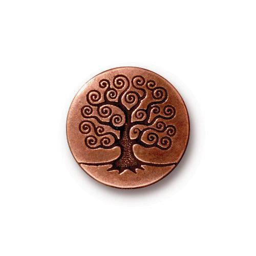 TierraCast Tree of Life Button, 15.5mm Antique Copper Plated x1
