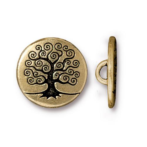 TierraCast Tree of Life Button, 15.5mm Antiqued 22kt Gold Plated x1