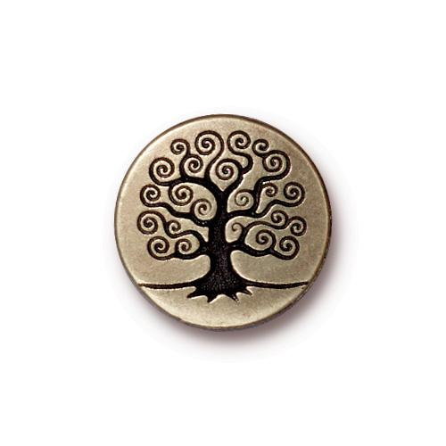 TierraCast Tree of Life Button, 15.5mm Brass Oxide x1