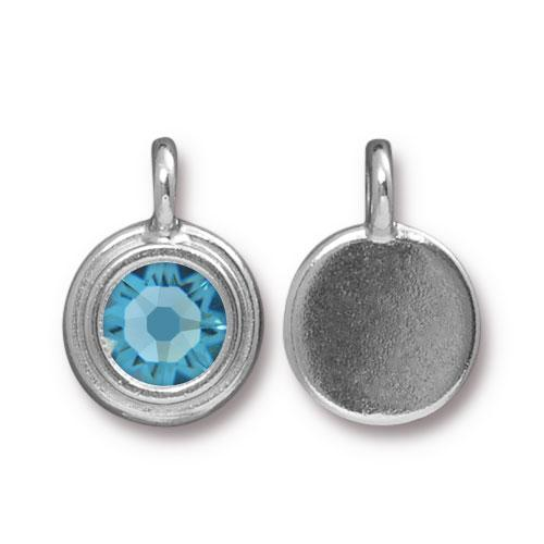 Tierracast Swarovski Birthstone Stepped Bezel Charms - 12mm, Silver Plated - Aquamarine (March)