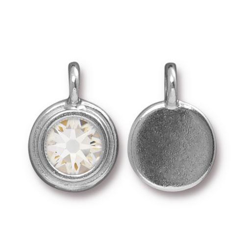 Tierracast Swarovski Birthstone Stepped Bezel Charms - 12mm, Silver Plated - Crystal (April)