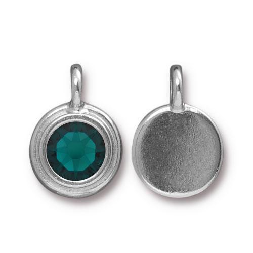 Tierracast Swarovski Birthstone Stepped Bezel Charms - 12mm, Silver Plated - Emerald (May)