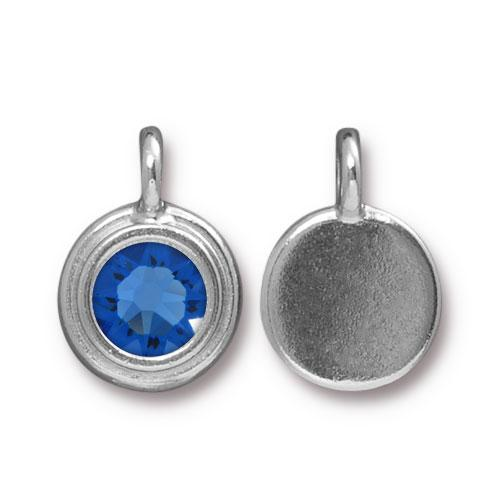Tierracast Swarovski Birthstone Stepped Bezel Charms - 12mm, Silver Plated - Sapphire (September)