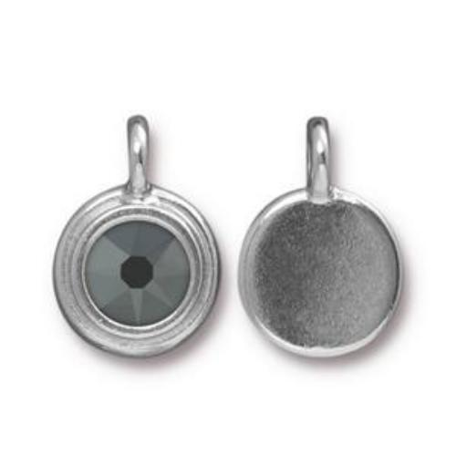 Tierracast Swarovski Stepped Bezel Drops - 12mm, Silver Plated - Jet Hematite