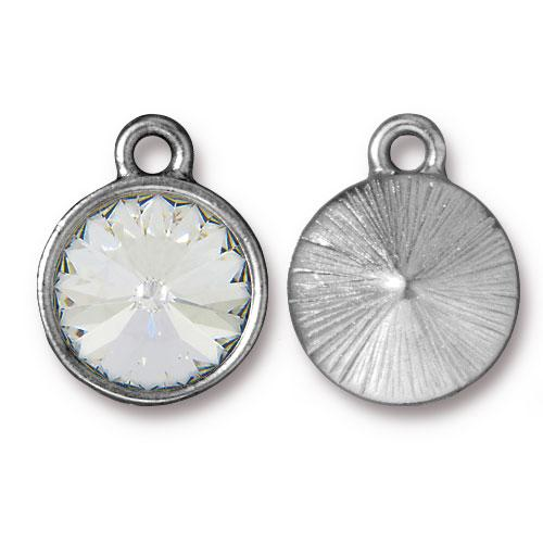 Tierracast Swarovski Birthstone (12mm Swarovski Rivoli) 14mm Charms, Rhodium Plated - Crystal (April)