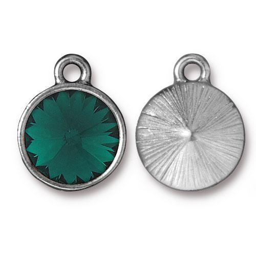 Tierracast Swarovski Birthstone (12mm Swarovski Rivoli) 14mm Charms, Rhodium Plated - Emerald (May)