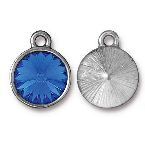 Tierracast Swarovski Birthstone (12mm Swarovski Rivoli) 14mm Charms, Rhodium Plated - Sapphire (September)