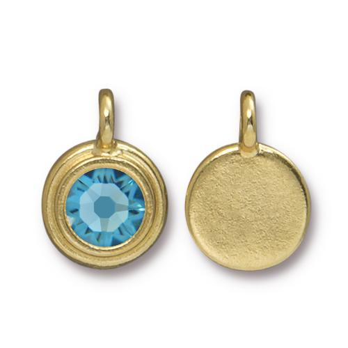 Tierracast Swarovski Birthstone Stepped Bezel Drops - 12mm, Gold Plated - Aquamarine (March)