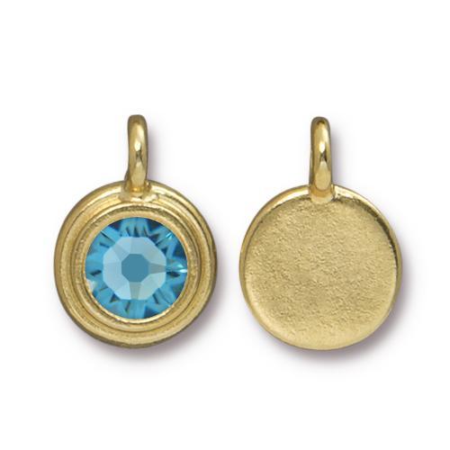 Tierracast Swarovski Birthstone Stepped Bezel Drops - 12mm, Gold Plated - Aquamarine (March)