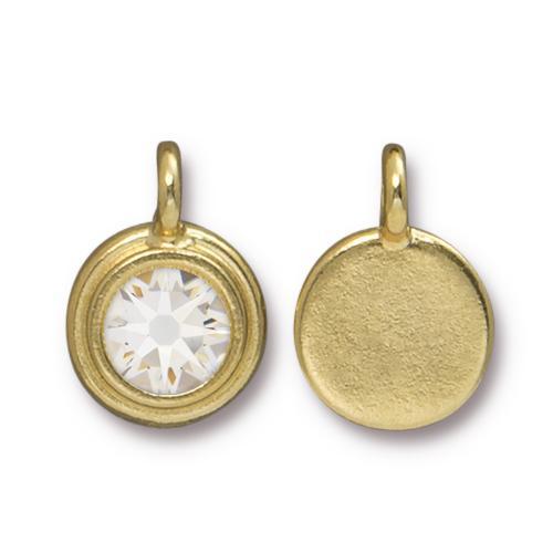Tierracast Swarovski Birthstone Stepped Bezel Charms - 12mm, Gold Plated - Crystal (April)