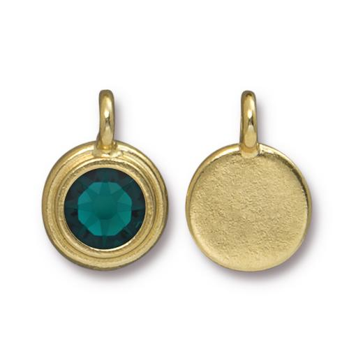 Tierracast Swarovski Birthstone Stepped Bezel Drops - 12mm, Gold Plated - Emerald (May)