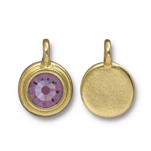 Tierracast Swarovski Birthstone Stepped Bezel Drops - 12mm, Gold Plated - Light Amethsyt (June)